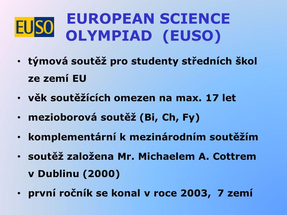 EUROPEAN SCIENCE OLYMPIAD (EUSO) týmová soutěž pro studenty středních škol ze zemí EU věk soutěžících omezen na max. 17 let mezioborová soutěž (Bi, Ch