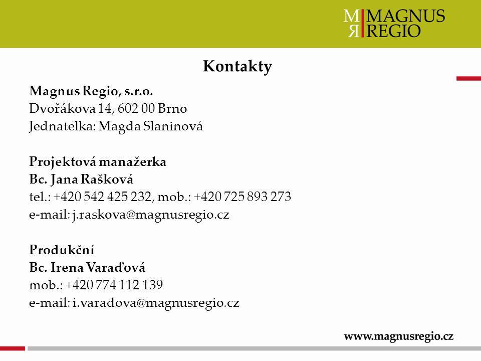 Magnus Regio, s.r.o. Dvořákova 14, 602 00 Brno Jednatelka: Magda Slaninová Projektová manažerka Bc.
