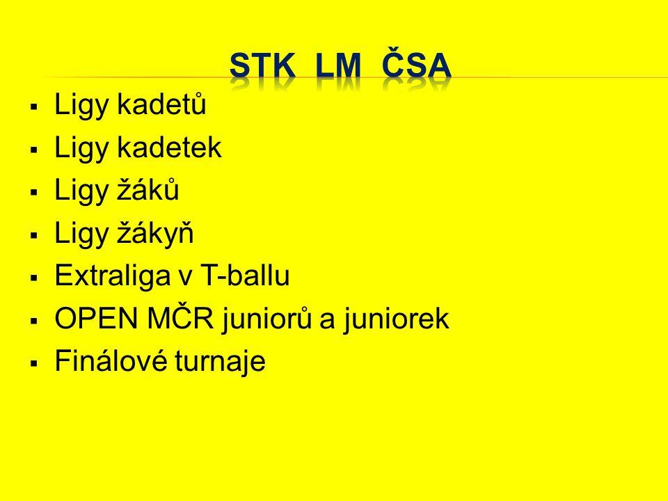  Ligy kadetů  Ligy kadetek  Ligy žáků  Ligy žákyň  Extraliga v T-ballu  OPEN MČR juniorů a juniorek  Finálové turnaje SŠ a ZŠ