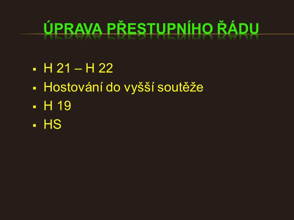  H 21 – H 22  Hostování do vyšší soutěže  H 19  HS