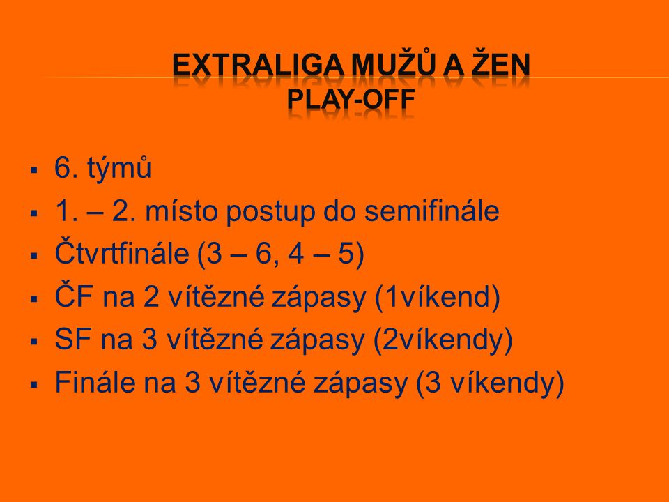  2 týmy (7.a 8. místo)  Série na 4 vítězné zápasy  3 víkendy  1.