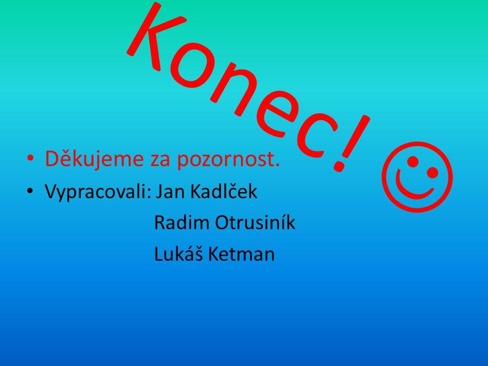 Konec! Děkujeme za pozornost. Vypracovali: Jan Kadlček Radim Otrusiník Lukáš Ketman
