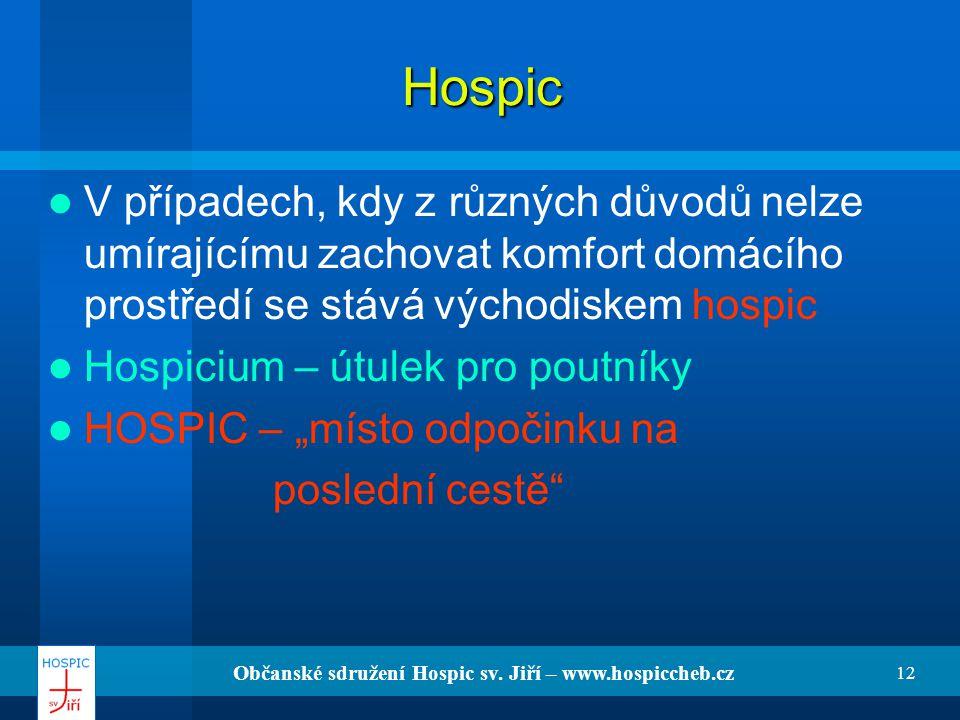 Občanské sdružení Hospic sv. Jiří – www.hospiccheb.cz 12 Hospic V případech, kdy z různých důvodů nelze umírajícímu zachovat komfort domácího prostřed