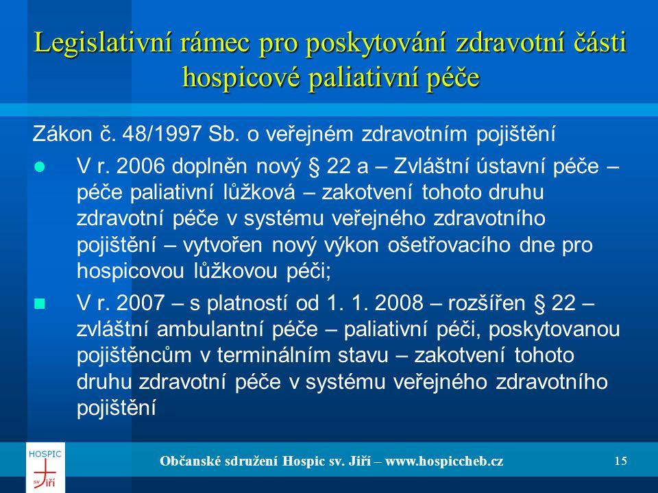 Občanské sdružení Hospic sv. Jiří – www.hospiccheb.cz 15 Legislativní rámec pro poskytování zdravotní části hospicové paliativní péče Zákon č. 48/1997
