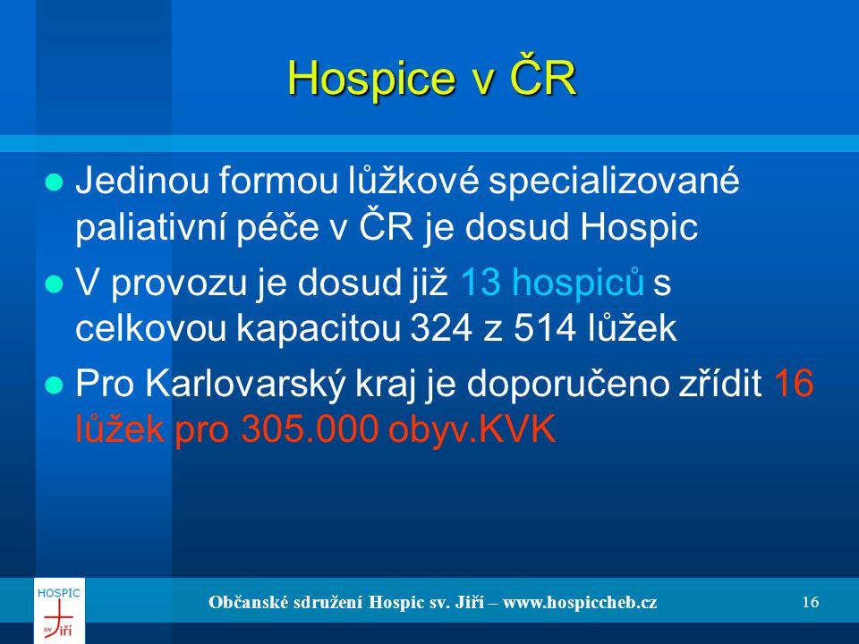 Občanské sdružení Hospic sv. Jiří – www.hospiccheb.cz 16 Hospice v ČR Jedinou formou lůžkové specializované paliativní péče v ČR je dosud Hospic V pro