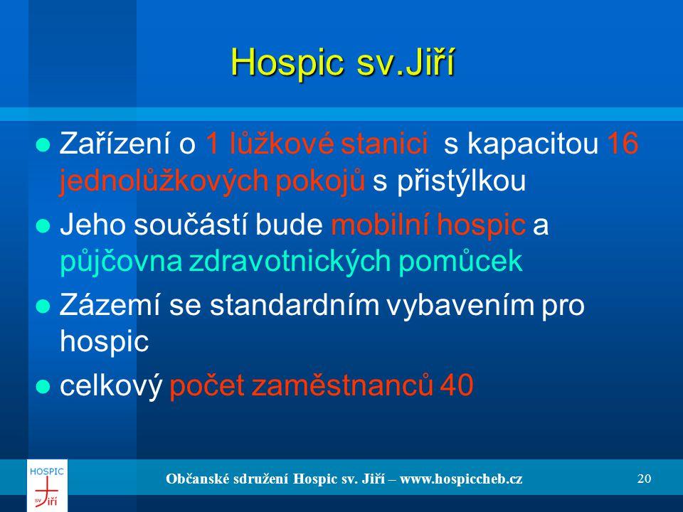 Občanské sdružení Hospic sv. Jiří – www.hospiccheb.cz 20 Hospic sv.Jiří Zařízení o 1 lůžkové stanici s kapacitou 16 jednolůžkových pokojů s přistýlkou