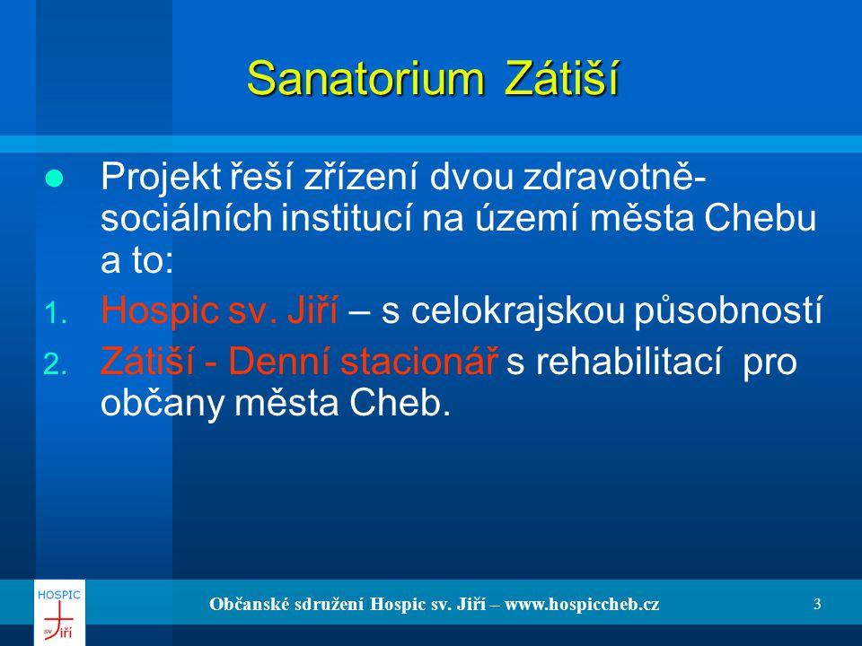 Občanské sdružení Hospic sv. Jiří – www.hospiccheb.cz 3 Sanatorium Zátiší Projekt řeší zřízení dvou zdravotně- sociálních institucí na území města Che