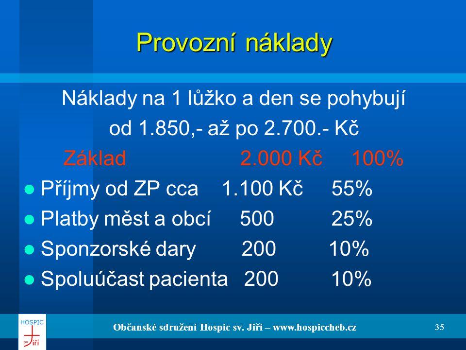 Občanské sdružení Hospic sv. Jiří – www.hospiccheb.cz 35 Provozní náklady Náklady na 1 lůžko a den se pohybují od 1.850,- až po 2.700.- Kč Základ 2.00