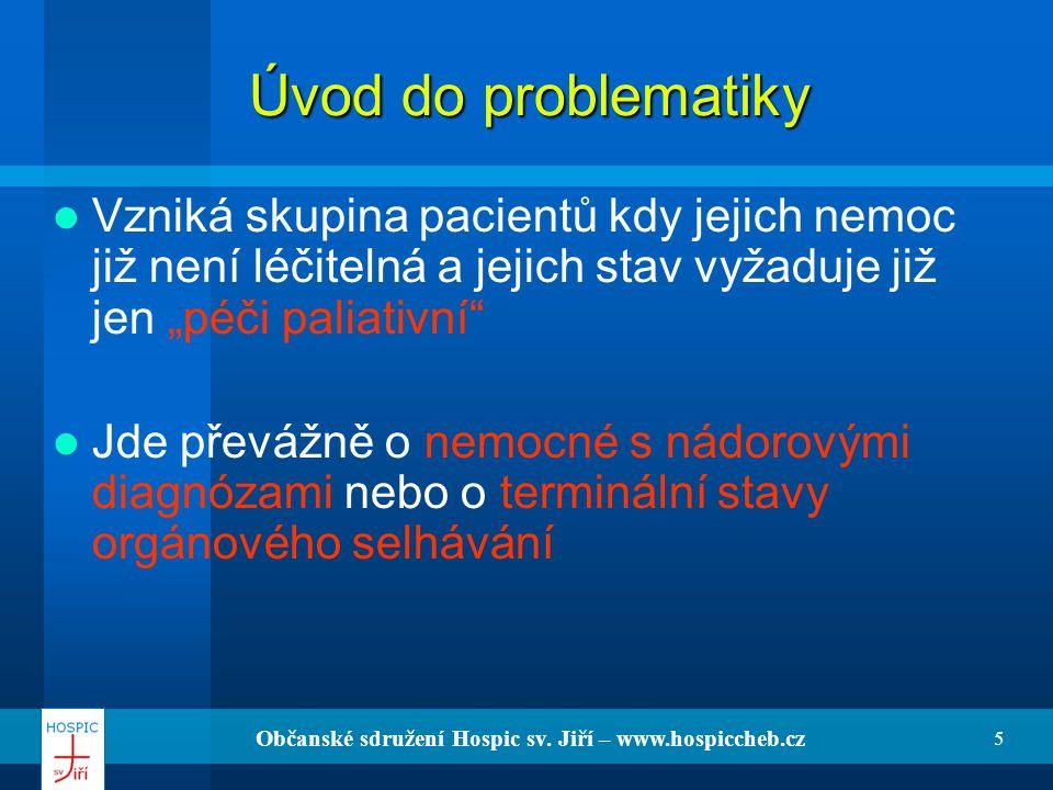Občanské sdružení Hospic sv. Jiří – www.hospiccheb.cz 5 Úvod do problematiky Vzniká skupina pacientů kdy jejich nemoc již není léčitelná a jejich stav