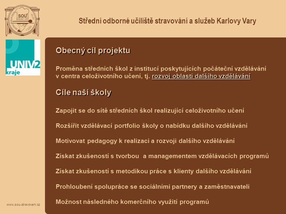 Střední odborné učiliště stravování a služeb Karlovy Vary www.sou-stravovani.cz Obecný cíl projektu rozvoj oblasti dalšího vzdělávání Proměna středníc