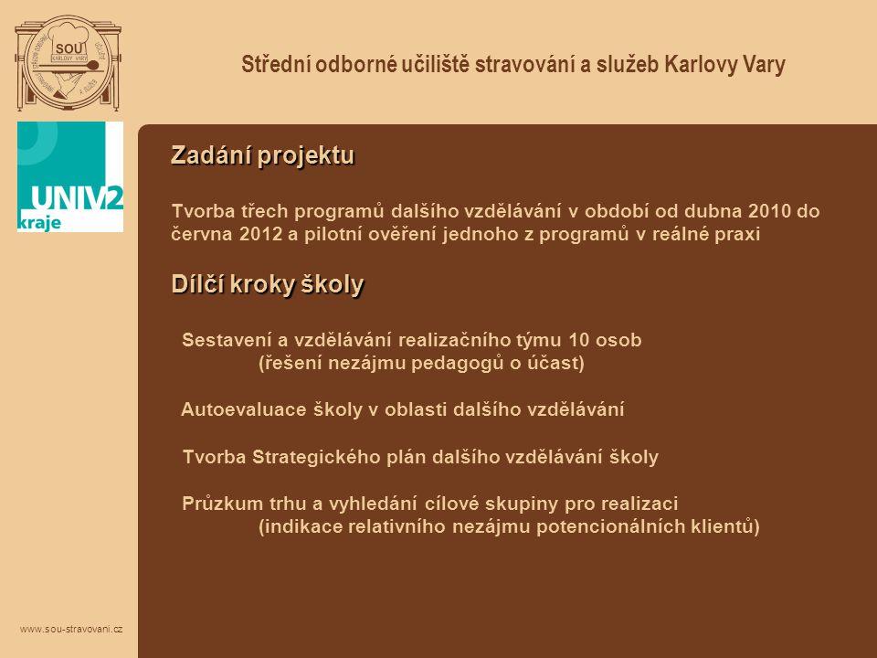 Střední odborné učiliště stravování a služeb Karlovy Vary www.sou-stravovani.cz Zadání projektu Tvorba třech programů dalšího vzdělávání v období od d