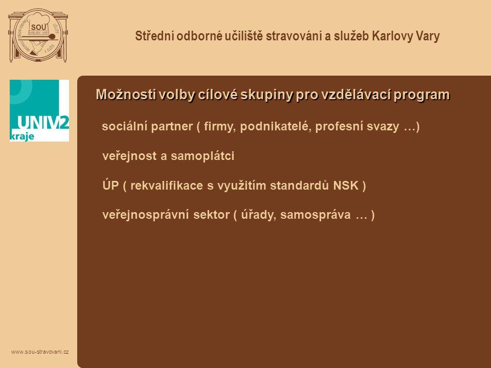 Střední odborné učiliště stravování a služeb Karlovy Vary www.sou-stravovani.cz Možnosti volby cílové skupiny pro vzdělávací program sociální partner
