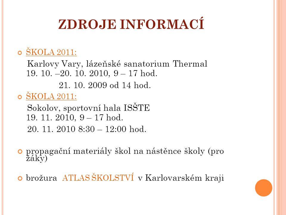 ZDROJE INFORMACÍ ŠKOLA 2011: Karlovy Vary, lázeňské sanatorium Thermal 19. 10. –20. 10. 2010, 9 – 17 hod. 21. 10. 2009 od 14 hod. ŠKOLA 2011: Sokolov,