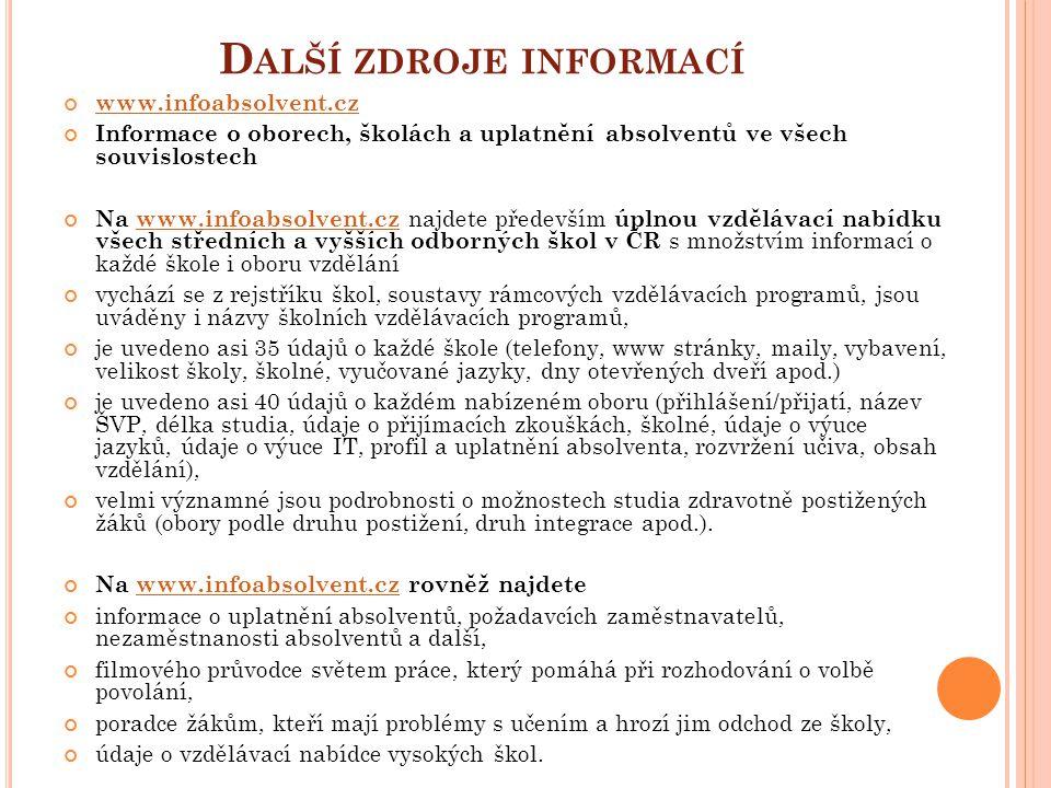 D ALŠÍ ZDROJE INFORMACÍ www.infoabsolvent.cz Informace o oborech, školách a uplatnění absolventů ve všech souvislostech Na www.infoabsolvent.cz najdet
