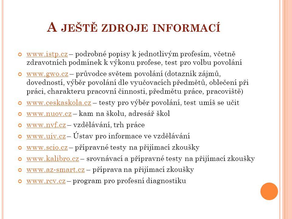 A JEŠTĚ ZDROJE INFORMACÍ www.istp.czwww.istp.cz – podrobné popisy k jednotlivým profesím, včetně zdravotních podmínek k výkonu profese, test pro volbu