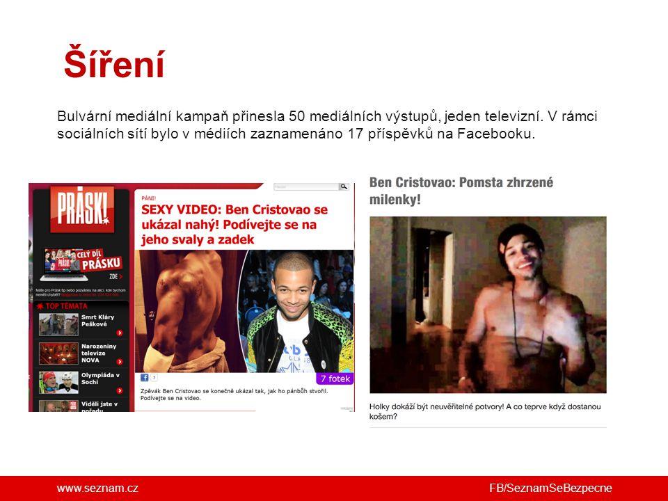 www.seznam.cz Šíření FB/SeznamSeBezpecne Bulvární mediální kampaň přinesla 50 mediálních výstupů, jeden televizní.