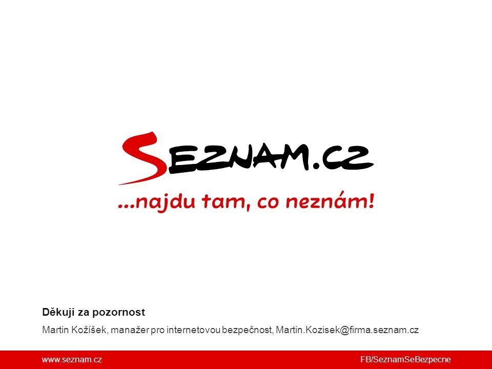 www.seznam.cz Martin Kožíšek, manažer pro internetovou bezpečnost, Martin.Kozisek@firma.seznam.cz Děkuji za pozornost FB/SeznamSeBezpecne