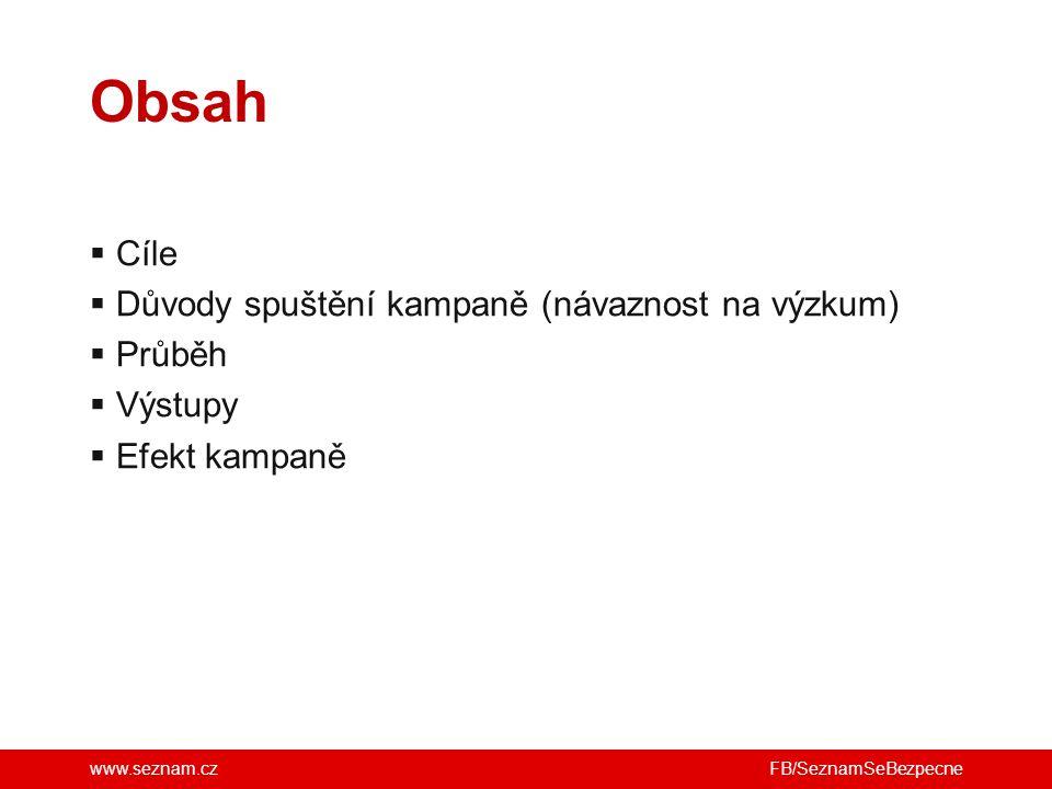 www.seznam.cz  Cíle  Důvody spuštění kampaně (návaznost na výzkum)  Průběh  Výstupy  Efekt kampaně Obsah FB/SeznamSeBezpecne