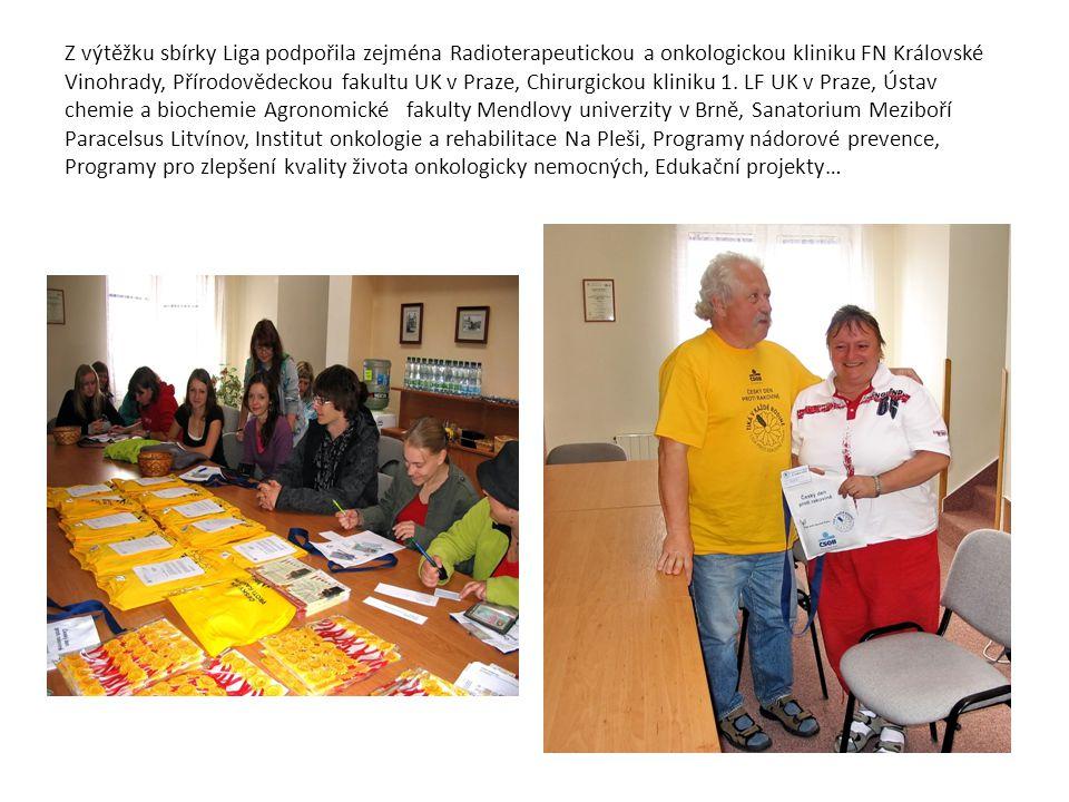 Z výtěžku sbírky Liga podpořila zejména Radioterapeutickou a onkologickou kliniku FN Královské Vinohrady, Přírodovědeckou fakultu UK v Praze, Chirurgi