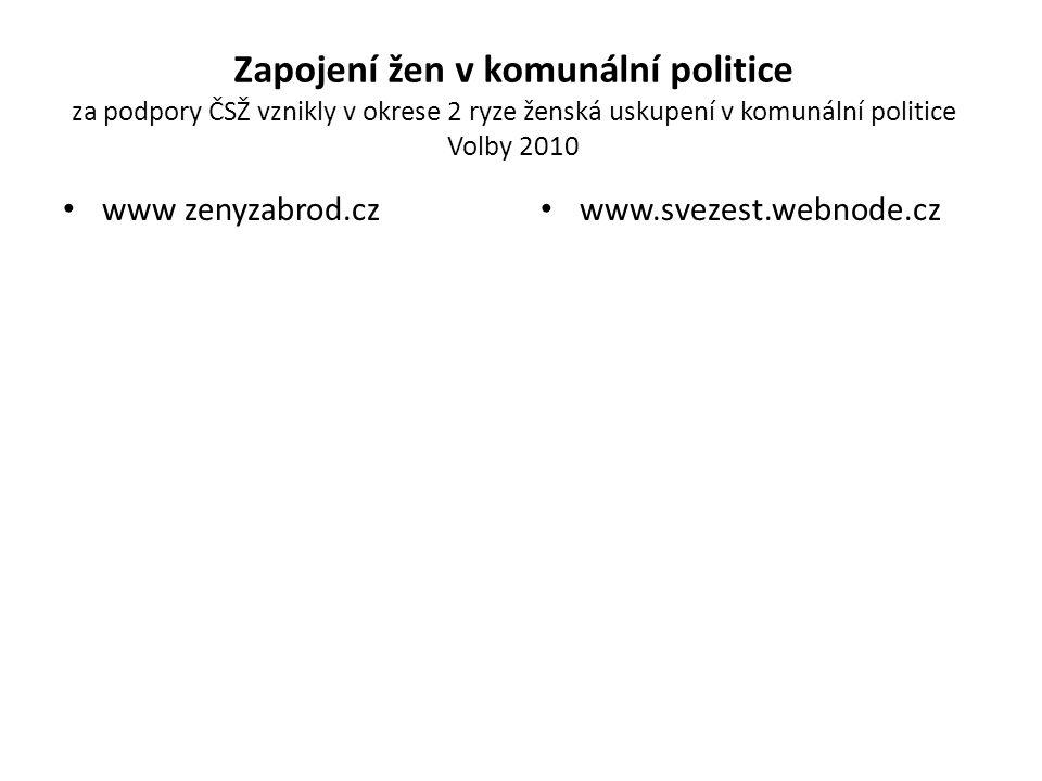 Zapojení žen v komunální politice za podpory ČSŽ vznikly v okrese 2 ryze ženská uskupení v komunální politice Volby 2010 www zenyzabrod.cz www.svezest