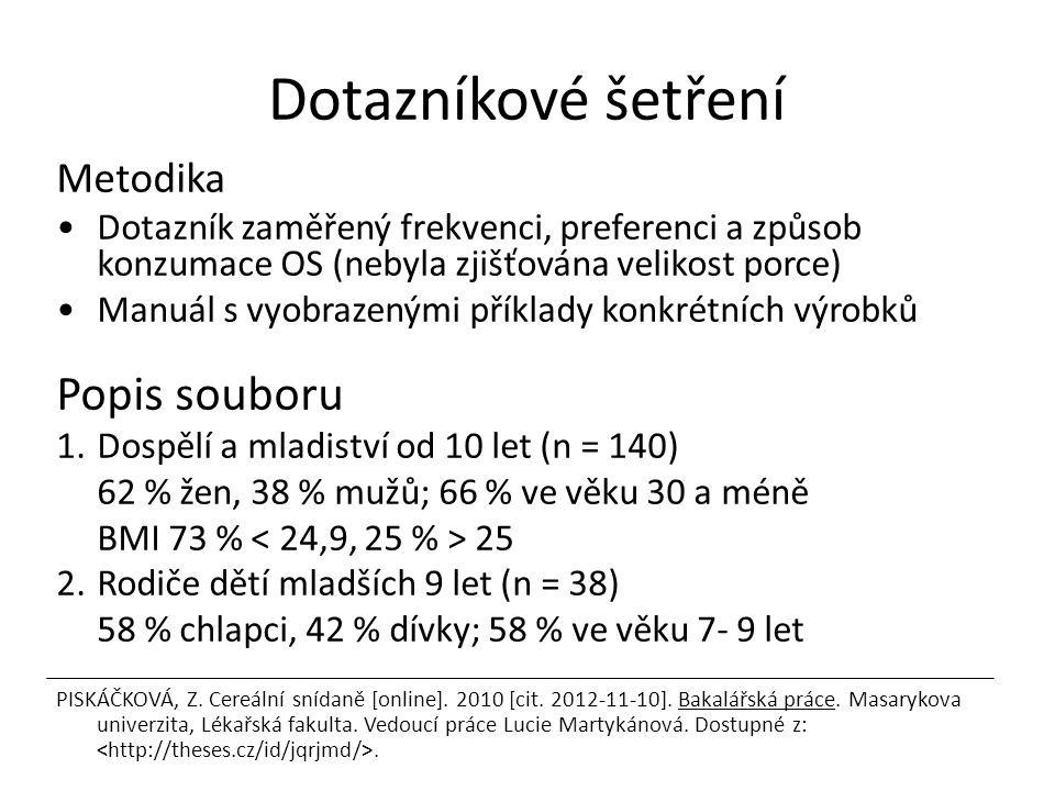 Dotazníkové šetření Metodika Dotazník zaměřený frekvenci, preferenci a způsob konzumace OS (nebyla zjišťována velikost porce) Manuál s vyobrazenými př