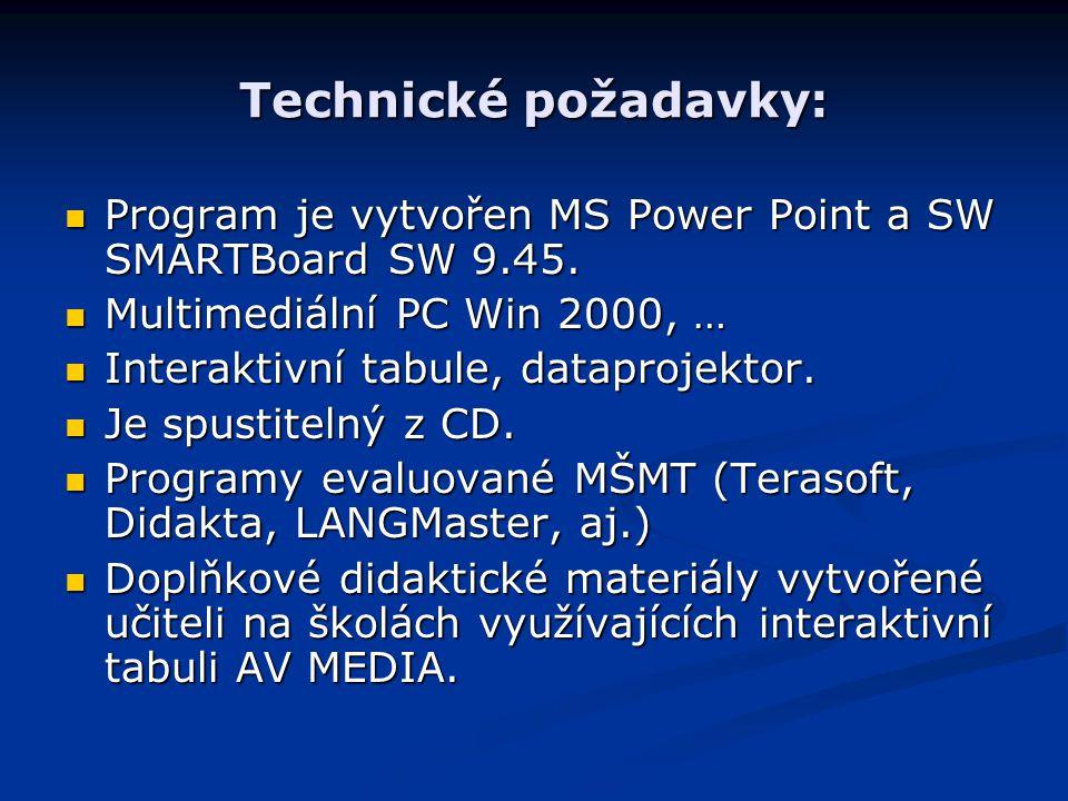 Technické požadavky: Program je vytvořen MS Power Point a SW SMARTBoard SW 9.45. Program je vytvořen MS Power Point a SW SMARTBoard SW 9.45. Multimedi