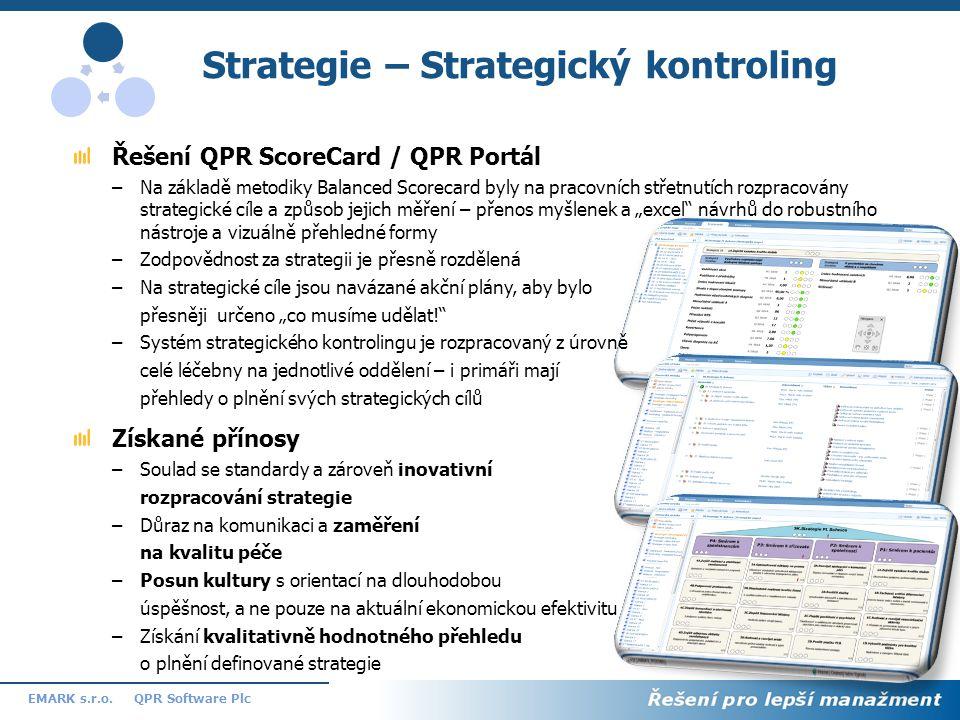 10 QPR Software PlcEMARK s.r.o. Strategie – Strategický kontroling Řešení QPR ScoreCard / QPR Portál –Na základě metodiky Balanced Scorecard byly na p
