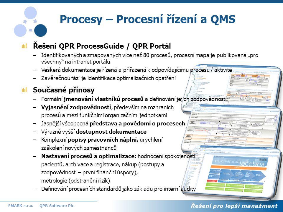 11 QPR Software PlcEMARK s.r.o. Procesy – Procesní řízení a QMS Řešení QPR ProcessGuide / QPR Portál –Identifikovaných a zmapovaných více než 80 proce