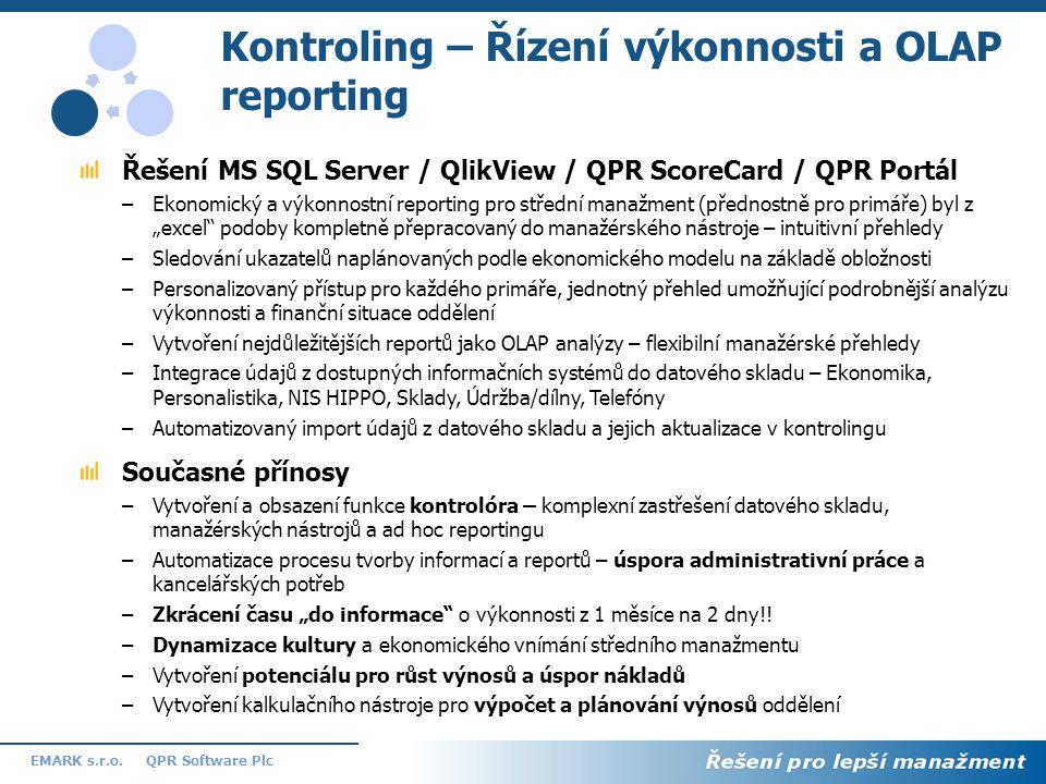 12 QPR Software PlcEMARK s.r.o. Kontroling – Řízení výkonnosti a OLAP reporting Řešení MS SQL Server / QlikView / QPR ScoreCard / QPR Portál –Ekonomic