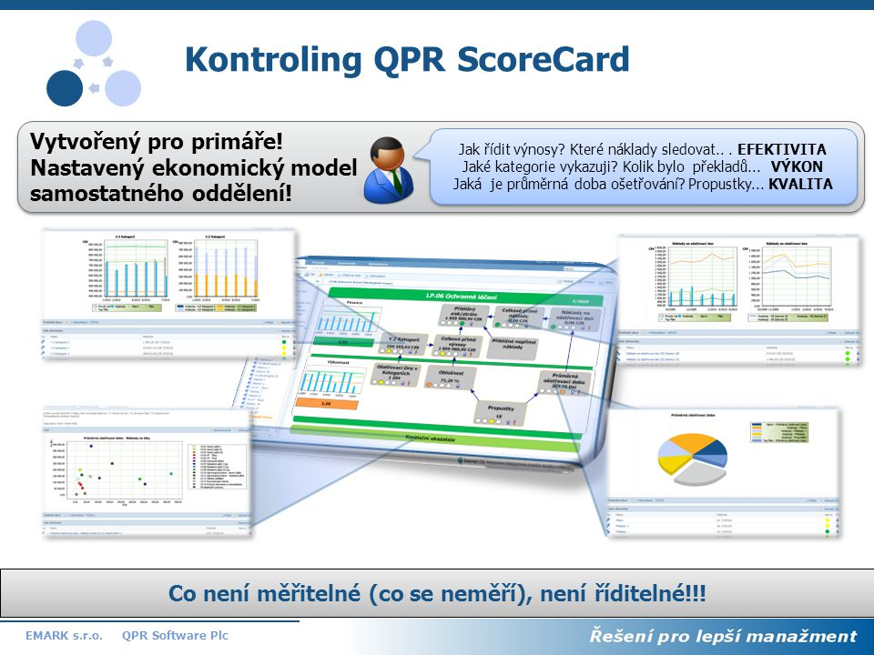13 QPR Software PlcEMARK s.r.o. Kontroling QPR ScoreCard Vytvořený pro primáře! Nastavený ekonomický model samostatného oddělení! Vytvořený pro primář
