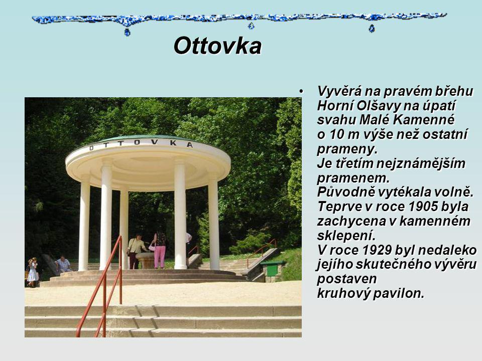 Pramen Dr. Šťastného Vyvěrá v blízkosti Lázeňského divadla.