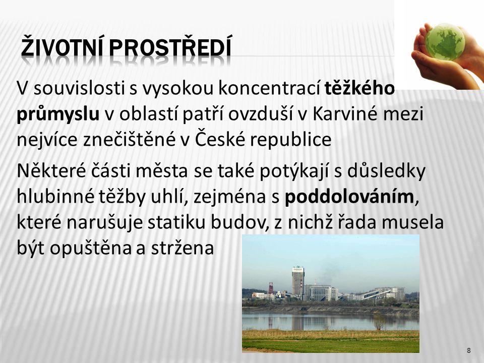 V souvislosti s vysokou koncentrací těžkého průmyslu v oblastí patří ovzduší v Karviné mezi nejvíce znečištěné v České republice Některé části města s