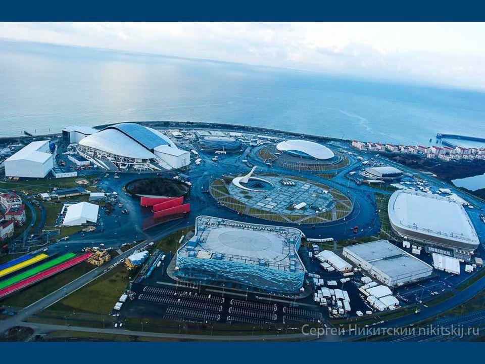 Schéma Olympijského Parku v Soči Sportovní zařízení, postavené na zelené louce, jsou uspořádány přehledně ve velkém kruhu kolem náměstí Medailí, kde b