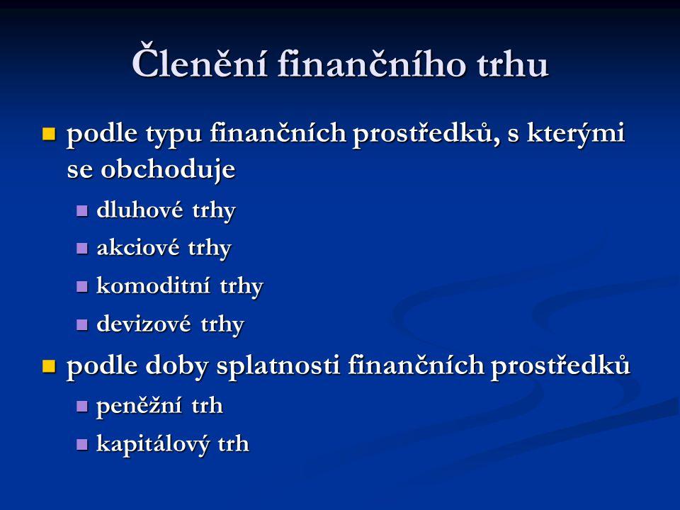 Členění finančního trhu podle typu finančních prostředků, s kterými se obchoduje podle typu finančních prostředků, s kterými se obchoduje dluhové trhy