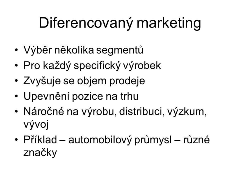Diferencovaný marketing Výběr několika segmentů Pro každý specifický výrobek Zvyšuje se objem prodeje Upevnění pozice na trhu Náročné na výrobu, distr