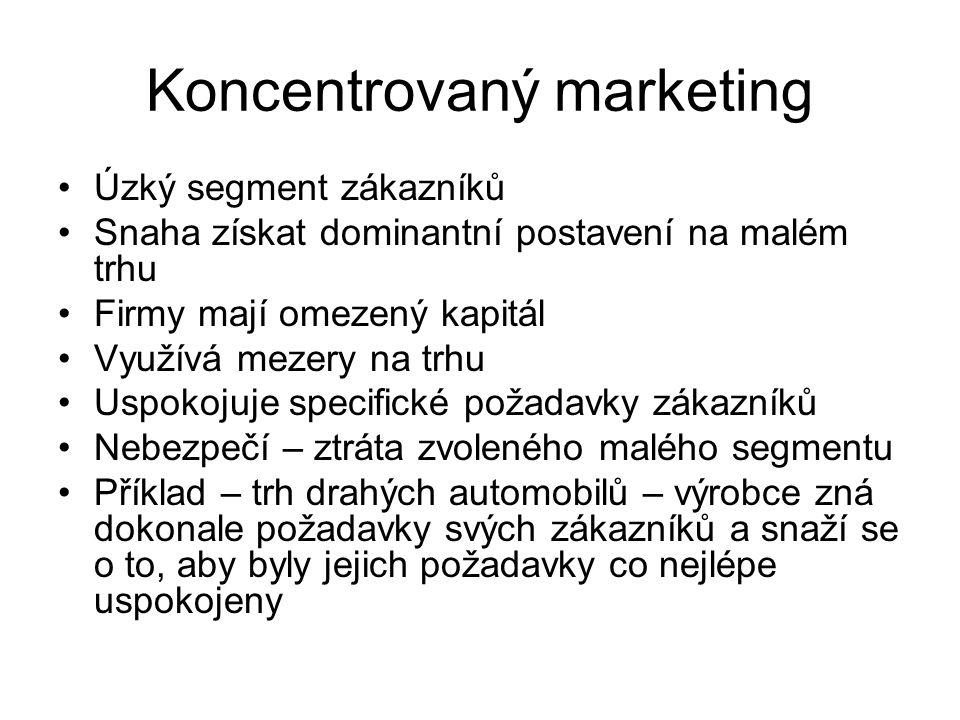 Koncentrovaný marketing Úzký segment zákazníků Snaha získat dominantní postavení na malém trhu Firmy mají omezený kapitál Využívá mezery na trhu Uspok