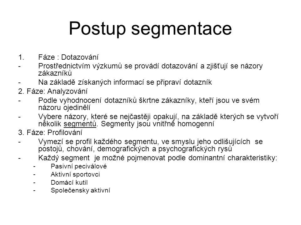 Postup segmentace 1.Fáze : Dotazování -Prostřednictvím výzkumů se provádí dotazování a zjišťují se názory zákazníků -Na základě získaných informací se