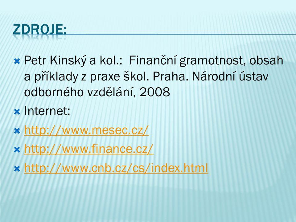  Petr Kinský a kol.: Finanční gramotnost, obsah a příklady z praxe škol.