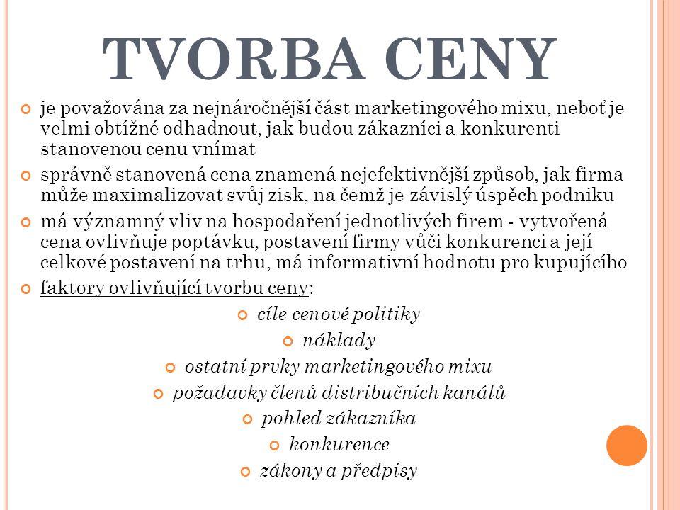 TVORBA CENY je považována za nejnáročnější část marketingového mixu, neboť je velmi obtížné odhadnout, jak budou zákazníci a konkurenti stanovenou cen