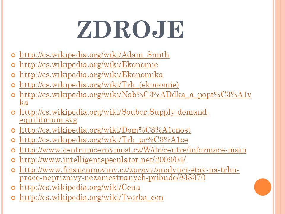 ZDROJE http://cs.wikipedia.org/wiki/Adam_Smith http://cs.wikipedia.org/wiki/Ekonomie http://cs.wikipedia.org/wiki/Ekonomika http://cs.wikipedia.org/wiki/Trh_(ekonomie) http://cs.wikipedia.org/wiki/Nab%C3%ADdka_a_popt%C3%A1v ka http://cs.wikipedia.org/wiki/Soubor:Supply-demand- equilibrium.svg http://cs.wikipedia.org/wiki/Dom%C3%A1cnost http://cs.wikipedia.org/wiki/Trh_pr%C3%A1ce http://www.centrumcernymost.cz/W/do/centre/informace-main http://www.intelligentspeculator.net/2009/04/ http://www.financninoviny.cz/zpravy/analytici-stav-na-trhu- prace-nepriznivy-nezamestnanych-pribude/838370 http://cs.wikipedia.org/wiki/Cena http://cs.wikipedia.org/wiki/Tvorba_cen
