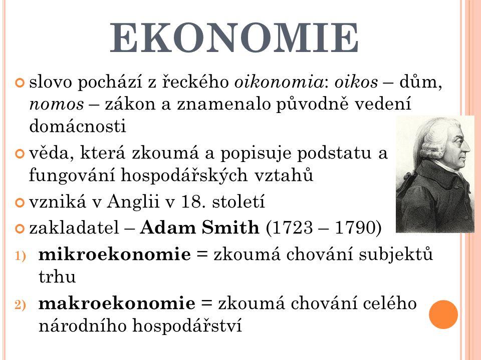 EKONOMIE slovo pochází z řeckého oikonomia : oikos – dům, nomos – zákon a znamenalo původně vedení domácnosti věda, která zkoumá a popisuje podstatu a fungování hospodářských vztahů vzniká v Anglii v 18.