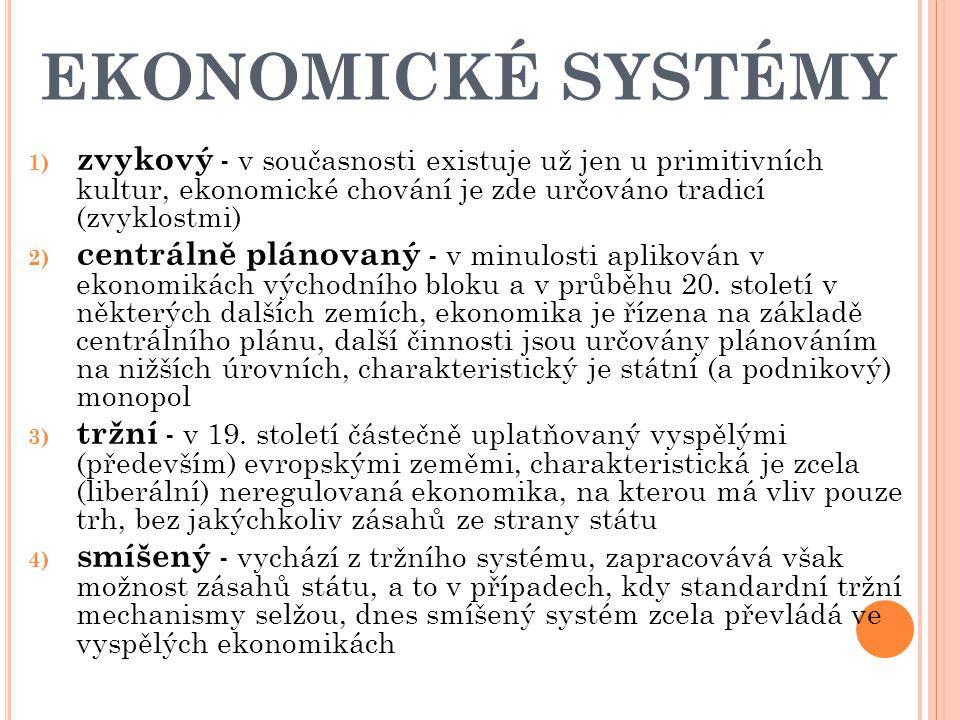 EKONOMICKÉ SYSTÉMY 1) zvykový - v současnosti existuje už jen u primitivních kultur, ekonomické chování je zde určováno tradicí (zvyklostmi) 2) centrálně plánovaný - v minulosti aplikován v ekonomikách východního bloku a v průběhu 20.