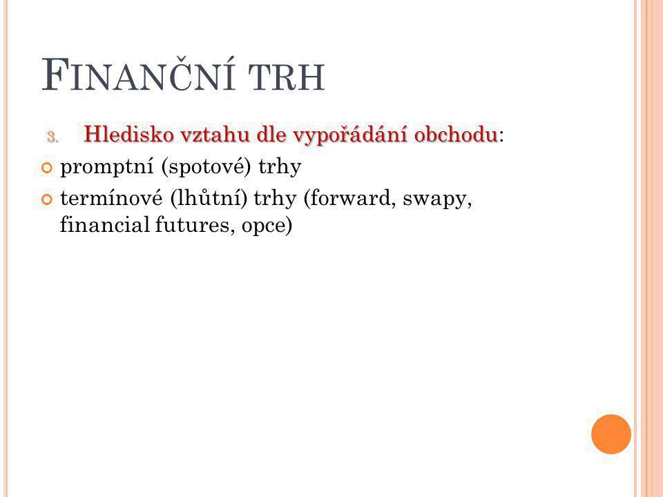 F INANČNÍ TRH 3. Hledisko vztahu dle vypořádání obchodu 3. Hledisko vztahu dle vypořádání obchodu: promptní (spotové) trhy termínové (lhůtní) trhy (fo