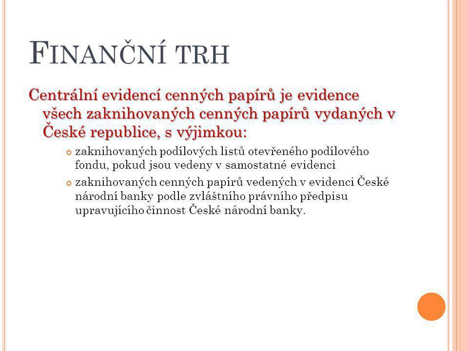 F INANČNÍ TRH Centrální evidencí cenných papírů je evidence všech zaknihovaných cenných papírů vydaných v České republice, s výjimkou: zaknihovaných p