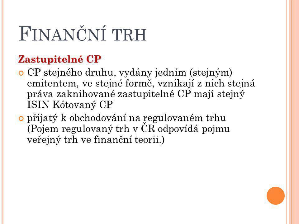 F INANČNÍ TRH Zastupitelné CP CP stejného druhu, vydány jedním (stejným) emitentem, ve stejné formě, vznikají z nich stejná práva zaknihované zastupit