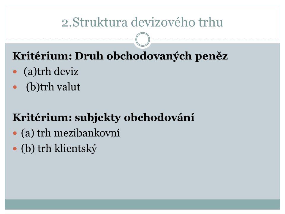 2.Struktura devizového trhu Kritérium: Druh obchodovaných peněz (a)trh deviz (b)trh valut Kritérium: subjekty obchodování (a) trh mezibankovní (b) trh klientský
