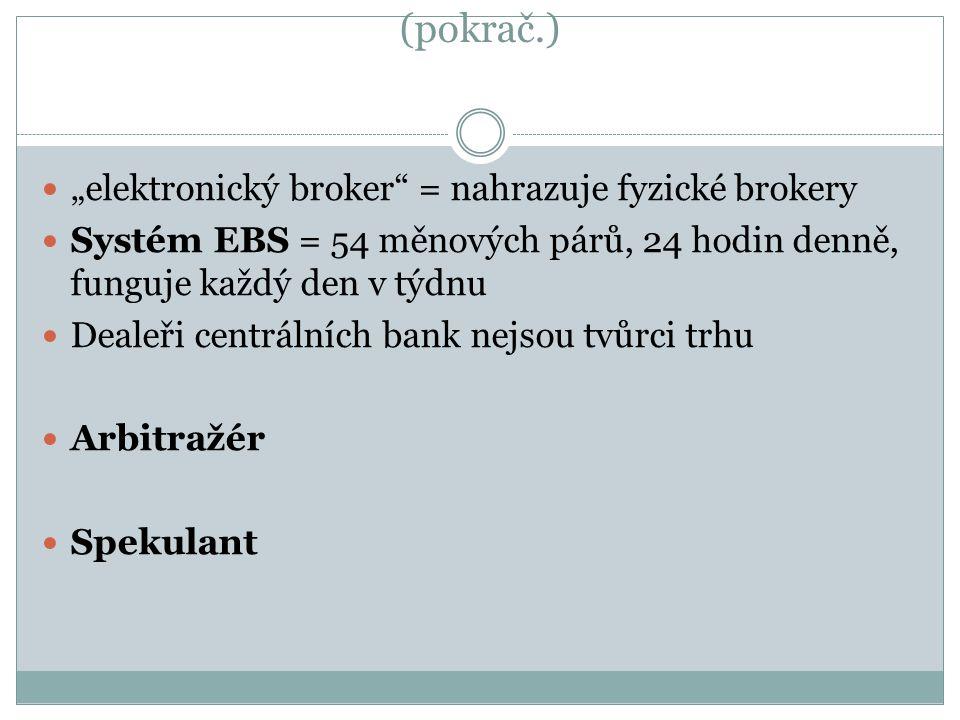 """(pokrač.) """"elektronický broker = nahrazuje fyzické brokery Systém EBS = 54 měnových párů, 24 hodin denně, funguje každý den v týdnu Dealeři centrálních bank nejsou tvůrci trhu Arbitražér Spekulant"""