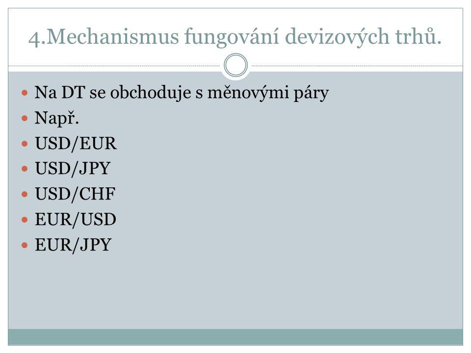 4.Mechanismus fungování devizových trhů.Na DT se obchoduje s měnovými páry Např.