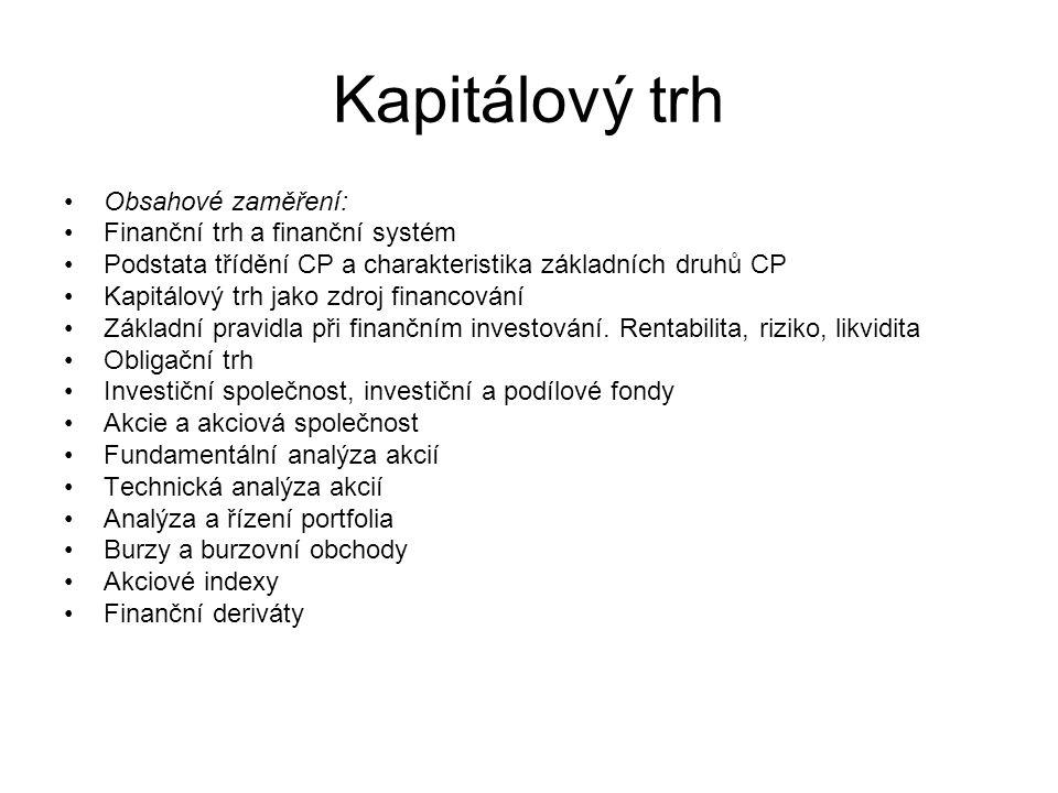 Kapitálový trh Doporučená studijní literatura a multimediální pomůcky k předmětu: MUSÍLEK, P.: Finanční trhy a investiční bankovnictví, ETC Publishing, Praha 1999, ISBN 80-86007-78-6.