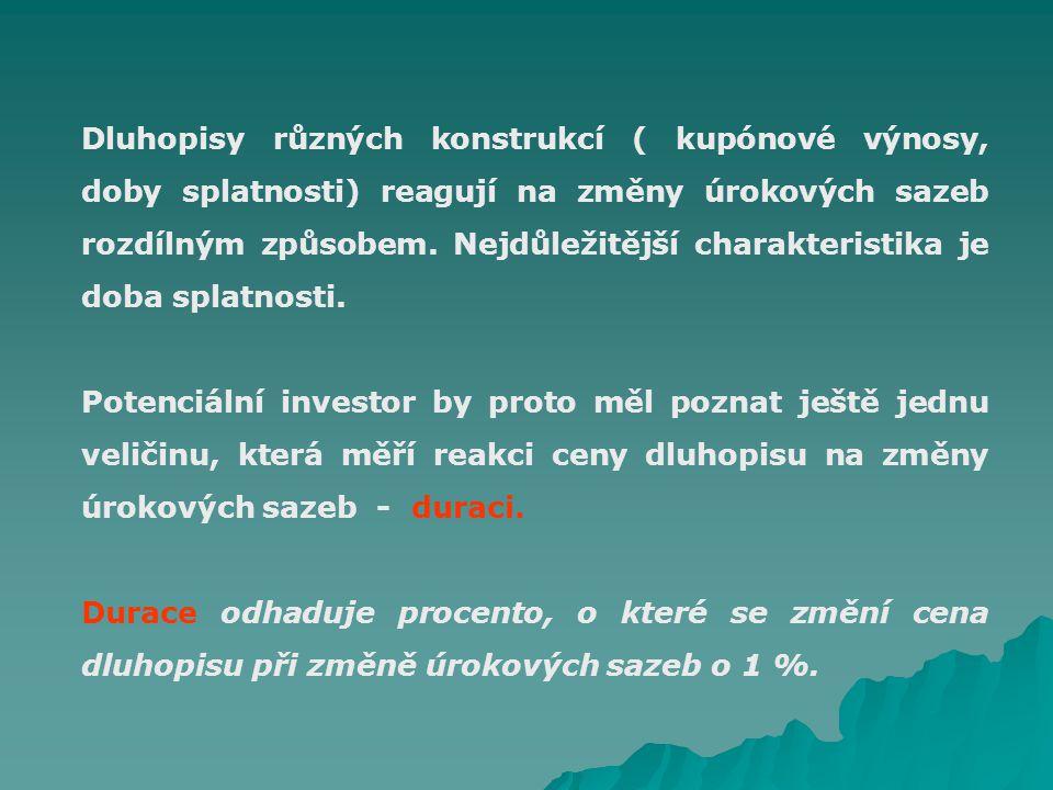 Dluhopisy různých konstrukcí ( kupónové výnosy, doby splatnosti) reagují na změny úrokových sazeb rozdílným způsobem.
